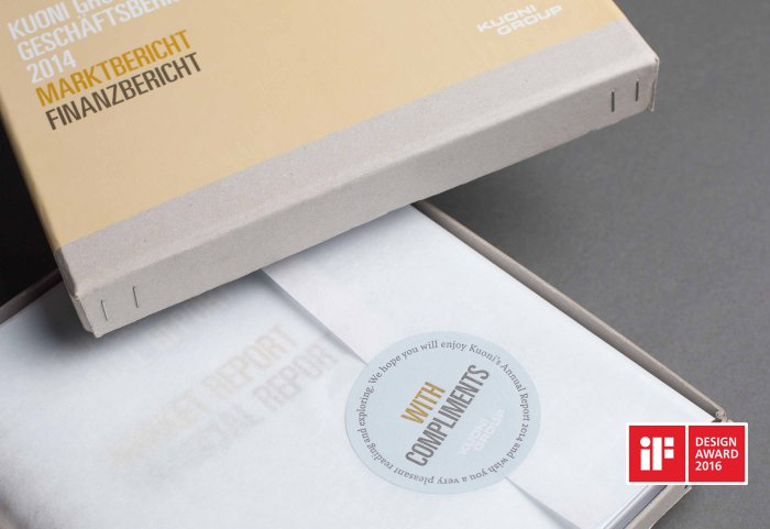 Kuoni Group Annual Report Geschäftsbericht Verpackungskonzept Compliments Card