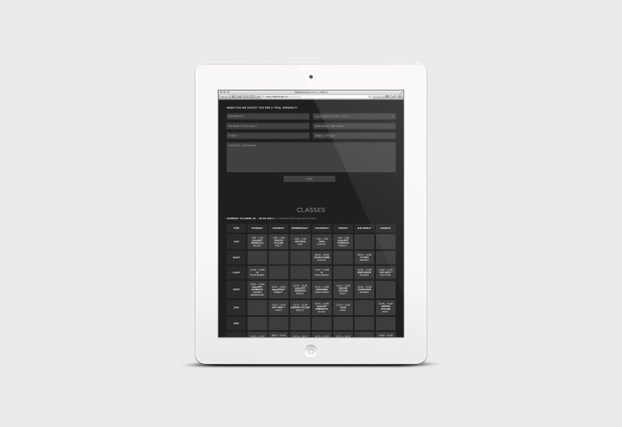 Responsive Webdesign INDIGO Fitness Club Tablet
