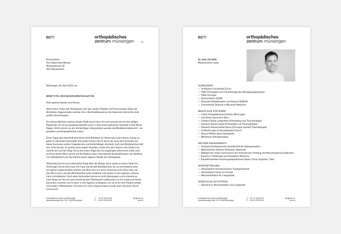 Orthopädisches Zentrum Münsingen Briefpapier