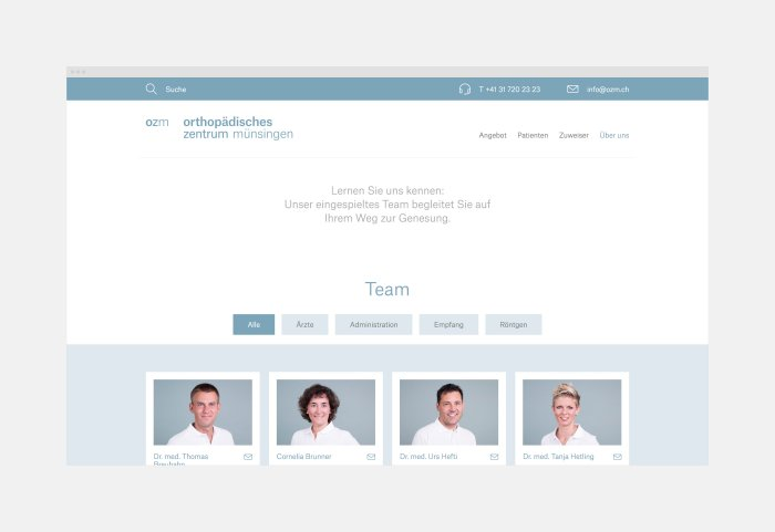 Orthopädisches Zentrum Münsingen Website