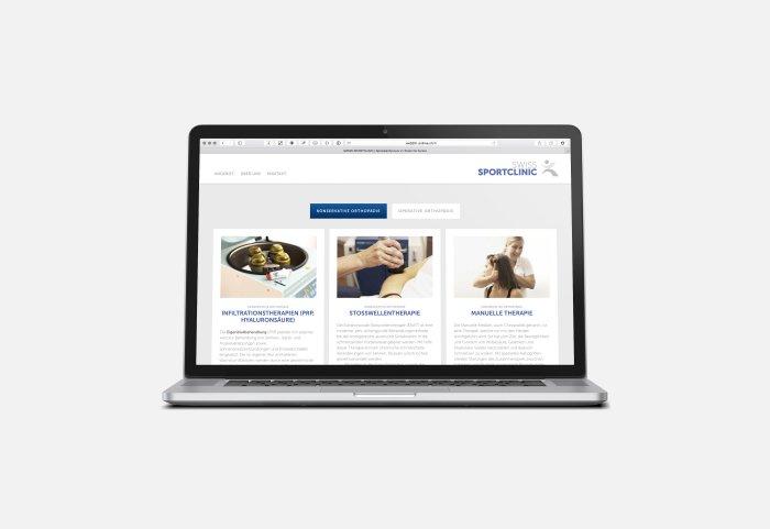 Swiss Sportclinic Responsive Website Angebot und Dienstleisungen