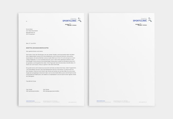 Swiss Sportclinic Corporate Design Brief