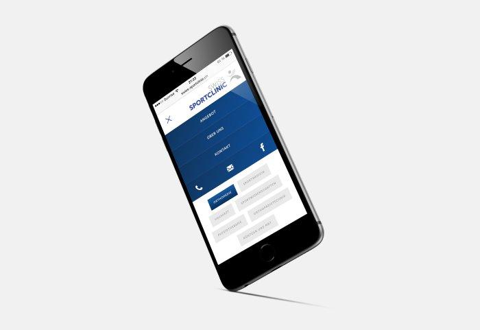 Swiss Sportclinic Website Navigation