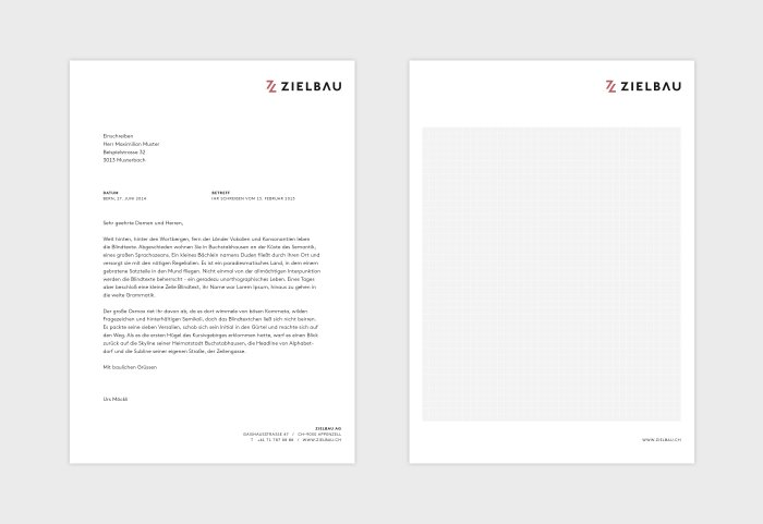 Zielbau AG Briefschaften Corporate Design