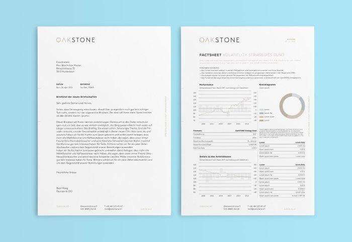 Briefpapier und Factsheet OAKSTONE